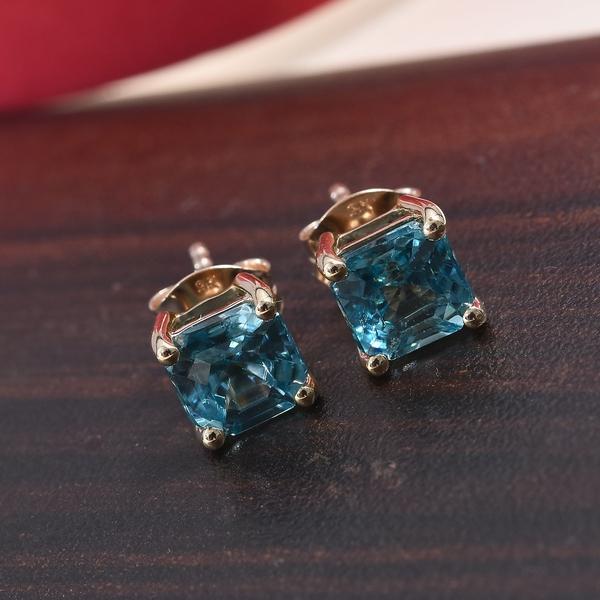 9K Yellow Gold AAA Ratanakiri Blue Zircon (Asscher Cut 6x6mm) Solitaire Stud Earrings (with Push Back) 3.00 Ct.