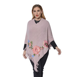 Pink Poncho with Rose Embroidery and Fringe Hem (Size 90x85+10cm)