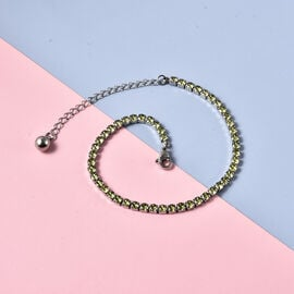 Simulated Peridot Tennis Style Bracelet (Size 7.5 with 2 inch Extender) in Silver Tone