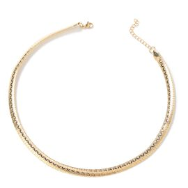 Gold Plated Stainless Steel Collar Necklace (Size 18 and 2 inch Extender)