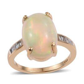 ILIANA 18K Y Gold AAA Ethiopian Welo Opal (Ovl 6.00 Ct), Diamond Ring 6.150 Ct.