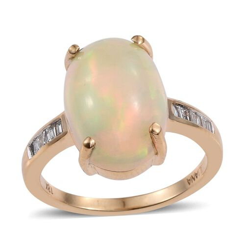 ILIANA 18K Y Gold AAA Ethiopian Welo Opal (Ovl 6.00 Ct), Diamond Ring 6.150 Ct.