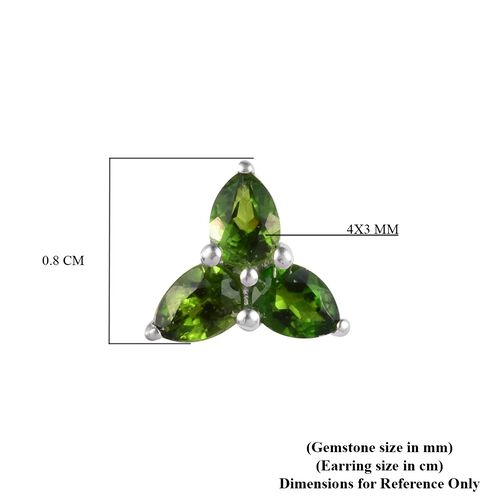 Russian Diopside Stud Earrings (with Push Back) in Sterling Silver 1.00 Ct.