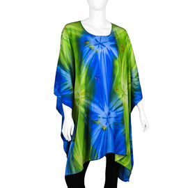 Bali Collection - Tie Dye Pattern Poncho (Free Size) - Green and Blue