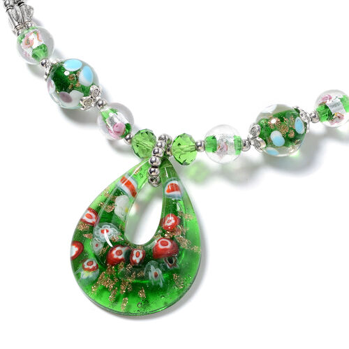 Murano Style Glass, Simulated Emerald, Green Quartzite, Simulated Mystic Glass Necklace (Size 28 and 2.5 inch Extender)