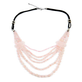 Rose Quartz (Rnd), Simulated Pink Sapphire Multi Strand Necklace (Size 28 and 2.5 inch Extender)  68