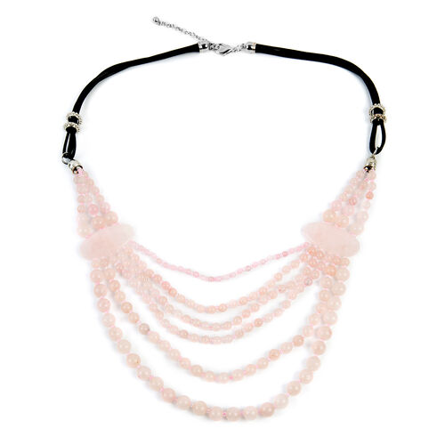 Rose Quartz (Rnd), Simulated Pink Sapphire BIB Necklace (Size 28 and 2.5 inch Extender)  685.000  Ct.