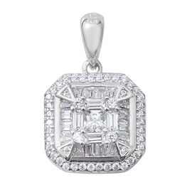 ELANZA Simulated Diamond (Bgt) Square Pendant in Rhodium Overlay Sterling Silver