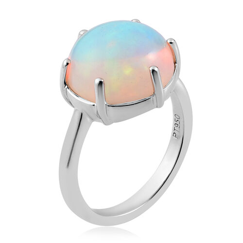 RHAPSODY 950 Platinum Extremely Rare Size AAAA Ethiopian Welo Opal (Round 12mm) Ring 4.75 Ct, Platinum wt. 4.85 Gms