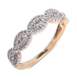 0.33 Carat Diamond Band Ring in 9K Rose Gold 2.2 Grams I2 GH
