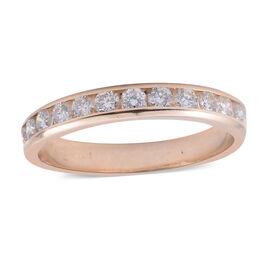 14K Yellow Gold (I1-I2/G-H) Diamond (Rnd) Half Eternity Band Ring 0.750 Ct.