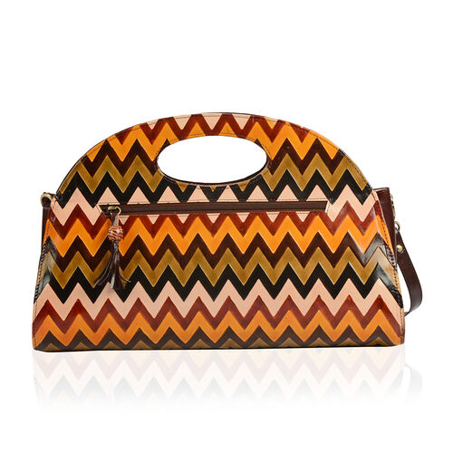 100% Genuine Leather Brown Colour Hand Printed Convertible Sling Zig - Zag Pattern Handbag With RFID Blocker (Size 40x30 Cm)
