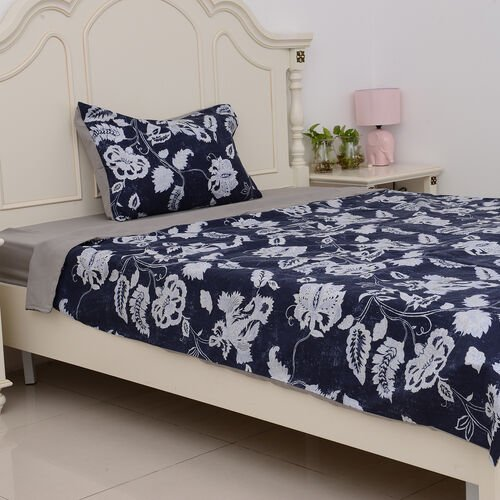 Microfiber Printed Fabric with Blue Duvet Cover (Size 200x140 Cm), Grey Fitted Sheet (Size 220x90 Cm) and Pillow Case (Size 75x50 Cm)