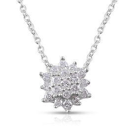 9K White Gold SGL CERTIFIED Diamond (Rnd) (I3/G-H) Pendant With Chain 0.15 Ct.
