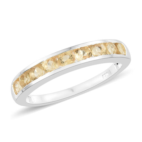 Citrine (Rnd) Half Eternity Band Ring in Sterling Silver 1.000 Ct.