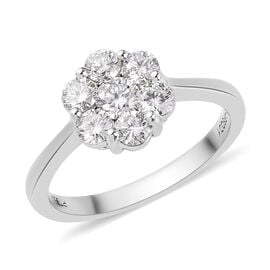 RHAPSODY 950 Platinum IGI Certified Natural Diamond (VS/E-F) Floral Cluster Ring 1.00 Ct.