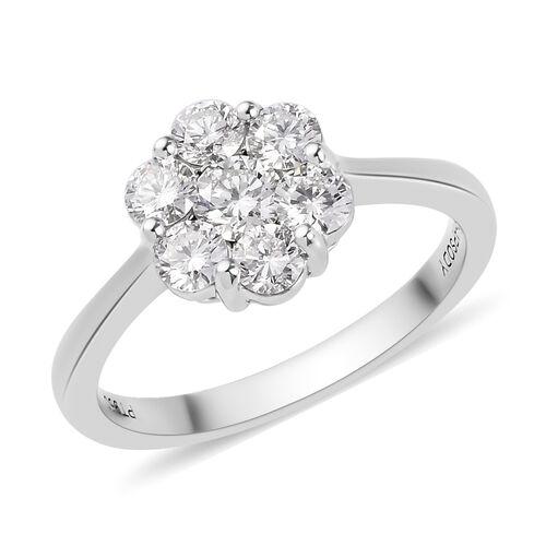 RHAPSODY 950 Platinum IGI Certified Natural Diamond (VS/E-F) Floral Cluster Ring 1.00 Ct.