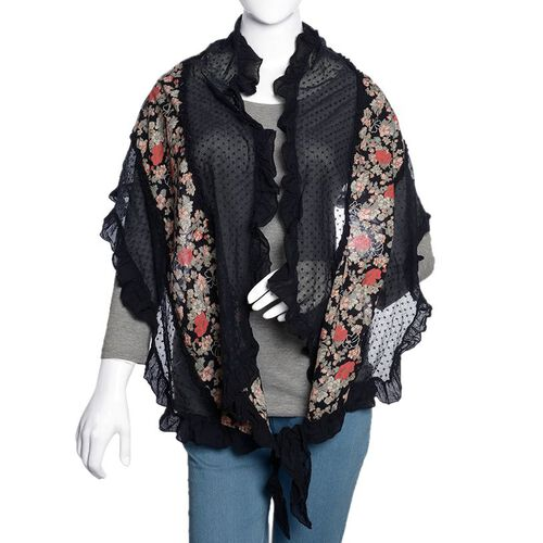 50% Cotton Black, Red and Multi Colour Floral Pattern Scarf with Hand Made Ruffle Border (Size 200X40 Cm)