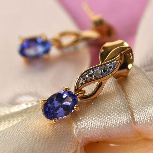 Tanzanite and Diamond Earrings (with Push Back) in Platinum and 14K Gold Overlay Sterling Silver 0.92 Ct.