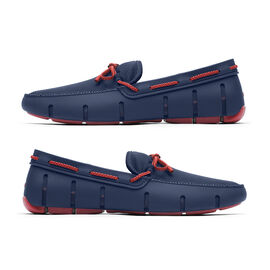 Swims Braided Lace Men's Loafer in Navy and Red Alert Colour
