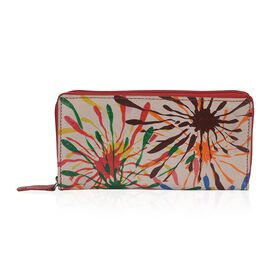 SUKRITI 100% Genuine Leather Splash of Colours Pattern Wallet with RFID Blocker (Size 20x10 Cm) - Mu