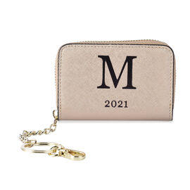 Genuine Leather Alphabet M Wallet with Engraved Message on Back Side (Size 11X7.5X2.5 Cm) - Gold