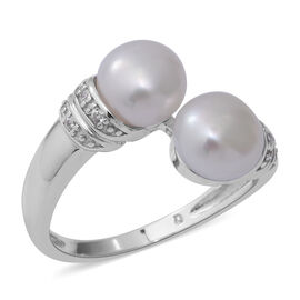 Freshwater Pearl and Simulated Diamond Bypass Ring in Rhodium Overlay Sterling Silver