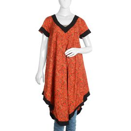 Orange Umbrella Dress with Multicolour Print (Size XL/XXL)