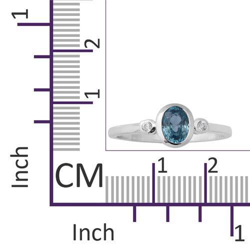 Ratanakiri Blue Zircon (Oval 7x5mm), Natural Cambodian Zircon Ring in Rhodium Overlay Sterling Silver 1.60 Ct.