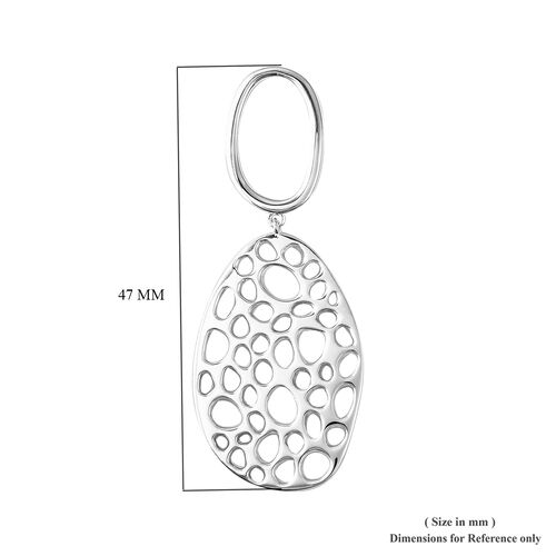 RACHEL GALLEY Rhodium Overlay Sterling Silver Lattice Drop Earrings (with Push Back), Silver wt 16.25 Gms.