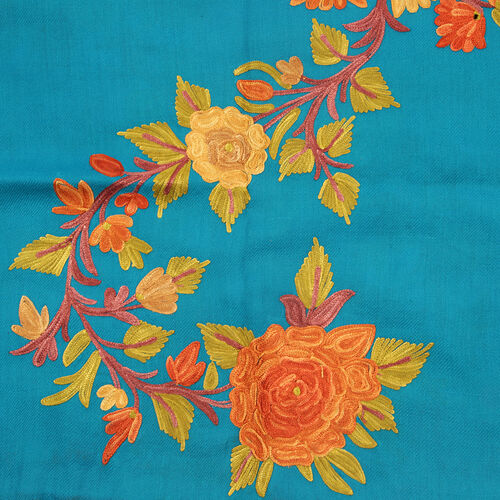 Designer Inspired 100% Merino Wool Orange and Multi Colour Flowers and Leaves Embroidered Turquoise Colour Scarf (175x70 Cm)