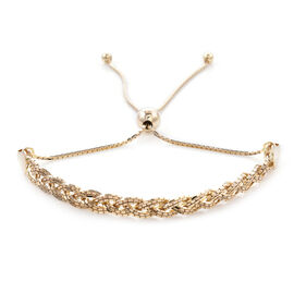 Monster Deal- 9K Yellow Gold Adjustable Braided Bolo Bracelet (Size 7.5), Gold wt 3.39 Gms