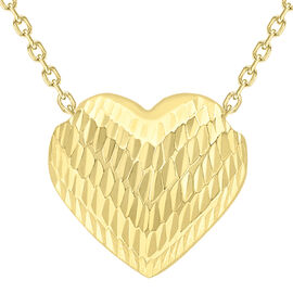 9K Yellow Gold Diamond Cut Sliding Heart Pendant with Chain (Size 17)