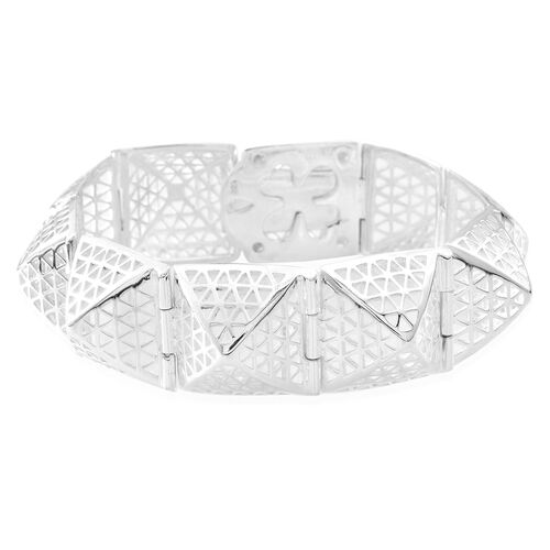 Vicenza Collection-Designer Inspired Sterling Silver Pyramid Bracelet (Size 7.5), Silver wt 38.80 Gms.