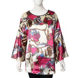 Designer Inspired - Floral Print Kaftan (Free size) - Red