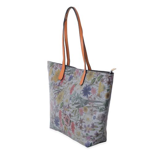Designer Inspired-Grey and Multi Colour Floral Pattern Tote Bag (Size 47x30x29x9.5 Cm)