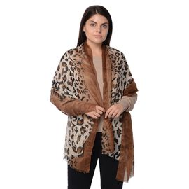 Leopard Pattern Winter Scarf with Tassel (Size 90x180 Cm) - Khaki and Coffee