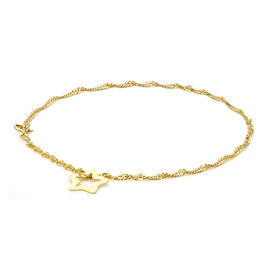 Hatton Garden Close Out 9K Yellow Gold Twist Curb Bracelet (Size 7) with Star Charm