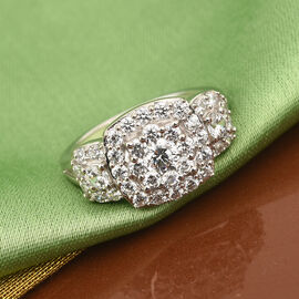 J Francis Platinum Overlay Sterling Silver Ring Made with SWAROVSKI ZIRCONIA 3.24 Ct.