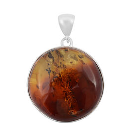 Bi- Colour Champagne Baltic Amber Pendant in Sterling Silver, (Silver wt 13 Gms.)