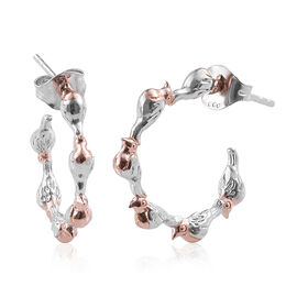 Rose Gold and Platinum Overlay Sterling Silver J Hoop Earrings (with Push Back)