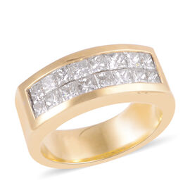 Signature Collection 1.60 Ct Diamond Princess Cut Two Row Half Eternity Band Ring in 18K Yellow Gold