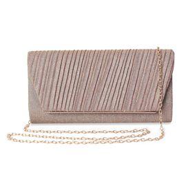 Glitter Striped Clutch Bag with Shoulder Chain (Size 24.5x11.5x6 Cm) - Champagne