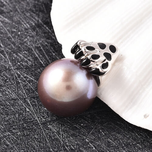 Purple Edison Pearl Enamelled Pendant in Rhodium Overlay Sterling Silver