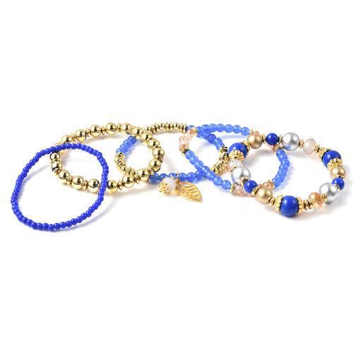 6 Piece Set - STRADA Japanese Movement Moving Dark Blue Austrian Crystal Water Resistant Watch with Dark Blue Strap and Set of 5 Adjustable Bracelet (Size 6.5-7.5) in Gold Tone