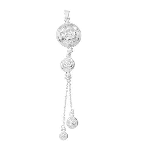 Limited Edition- Designer Inspired - High Polished Rose Engraved Pendant in Sterling Silver, Silver wt 5.20 Gms.