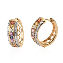 AAA Rainbow Sapphire (Sqr), Natural Cambodian Zircon Hoop Earrings (with Clasp) in 14K Gold Overlay