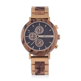 Botanica Goldthorn Zebrano Wood and Stainless Steel Watch - Brown and Gold