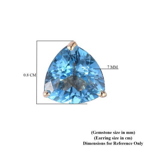 9K Yellow Gold Swiss Blue Topaz Stud Earrings 2.75 Ct.