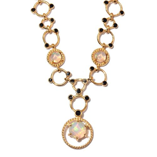 GP - AA Ethiopian Welo Opal and Blue Sapphire Enamelled Necklace (Size 18) in 14K Gold Overlay Sterl